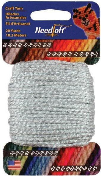 Needloft Craft Yarn 20 Yard Card - Silver