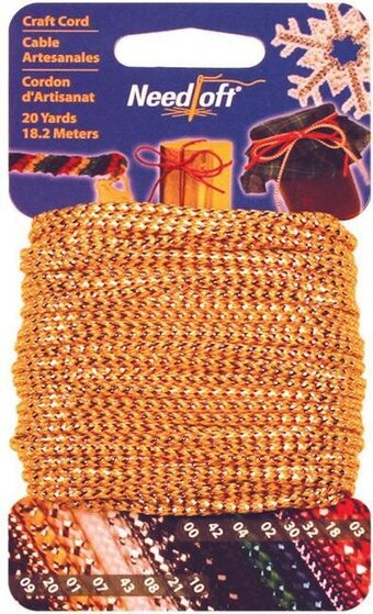 Needloft Craft Cord 20 Yard - Solid Gold