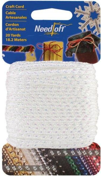 Needloft Craft Cord 20 Yard - Iridescent White