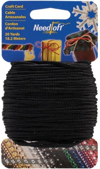 Needloft Craft Cord 20 Yard - Solid Black