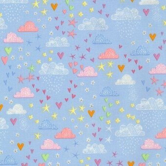 Blue Clouds Stars and Hearts with Metallic Fabric Yardage