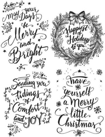 Tim Holtz Cling Mount Stamps - Christmas Doodle Greetings #1