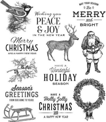 Festive Overlay - Tim Holtz Christmas Cling Stamp