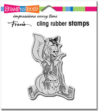Seated Skelly - Halloween Cling Stamp