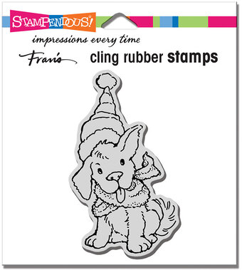 Scarf Puppy - Christmas Cling Stamp