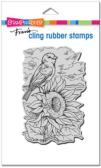 Sunflower Perch - Cling Rubber Stamp