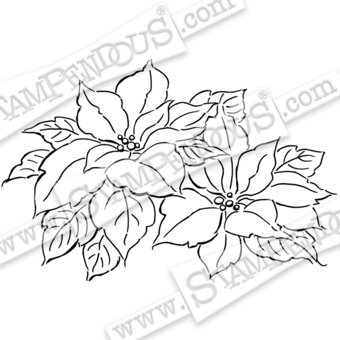 Precious Poinsettias - Christmas Cling Stamp