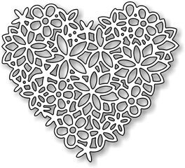 Impression Obsession Floral Lace Heart Die