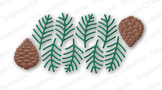 Impression Obsession Pine Sprig Cluster Christmas Die