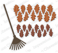 Oak Leaves and Rake - Impression Obsession Craft Die