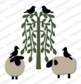 Sheep, Birds, and Tree - Impression Obsession Craft Die