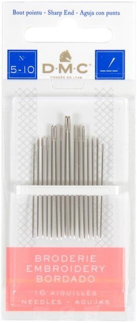 DMC Embroidery Hand Needles Sizes 5-10, 15 per package