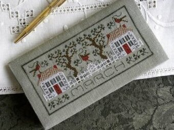 Pocket Calendar Cover - March - Cross Stitch Pattern