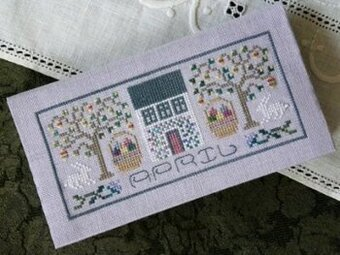 Pocket Calendar Cover - April - Cross Stitch Pattern