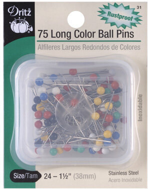 Color Ball Pins Long - Size 24 - 75 Per