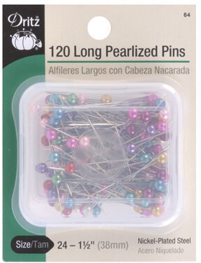 "Dritz 64 Long Pearlized Pins 1-1//2/"" 120 per Pack Size 24"