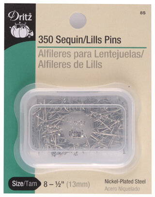 "Sequin Pins - Nickel - Size 8, 1/2"" (13mm) - 350 Per Pkg"