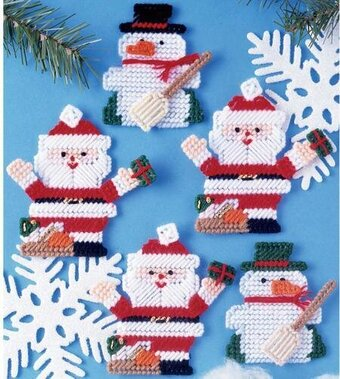 Santa Christmas Ornaments-Plastic Canvas Pattern or Kit