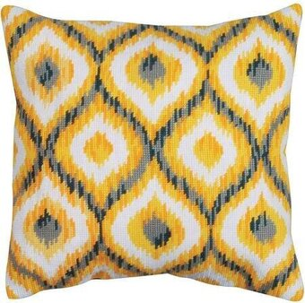 Yellow Ikat Pillow - Needlepoint Kit
