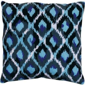 Blue Ikat Pillow - Needlepoint Kit