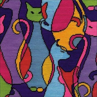 Colorful Cats - Needlepoint Kit