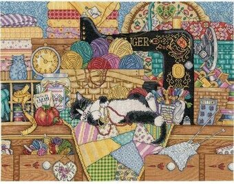 Kitty Sewing Lesson - Cross Stitch Kit