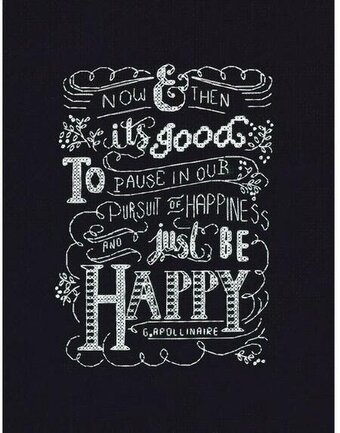 Be Happy Chalkboard - Counted Cross Stitch Kit