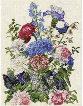 Bouquet with Cat - Cross Stitch Kit