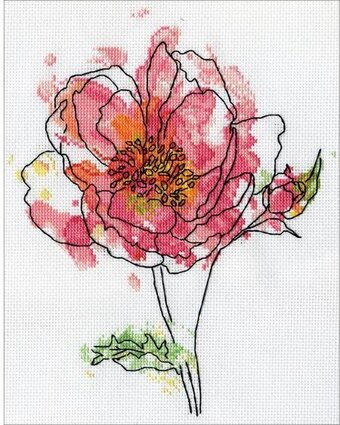 Pink Floral - Cross Stitch Kit