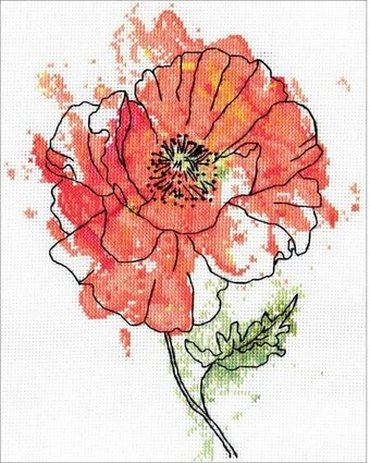 Peach Floral - Cross Stitch Kit