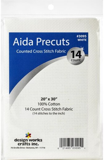 JJOnlineStore Cotton Aida 14 Count Cloth Craft Cross Stitch Fabric Needlework DIY White 30 x 46cm // 12 x 18