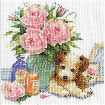 Puppy with Roses - Cross Stitch Kit