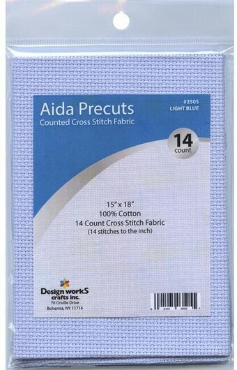 14 Count Light Blue Aida Fabric - 15 x 18 inches