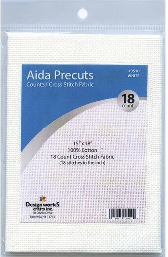 18 Count White Aida Fabric - 15 x 18 inches