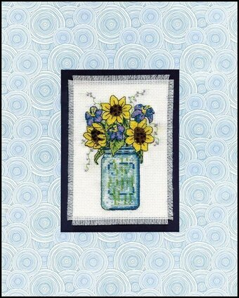 Floral Jar Stitch and Mat - Cross Stitch Kit