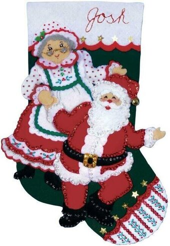 Dancing Claus Christmas Stocking - Felt Applique Kit