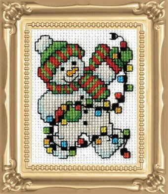 Snowman Lights - Christmas Cross Stitch Kit