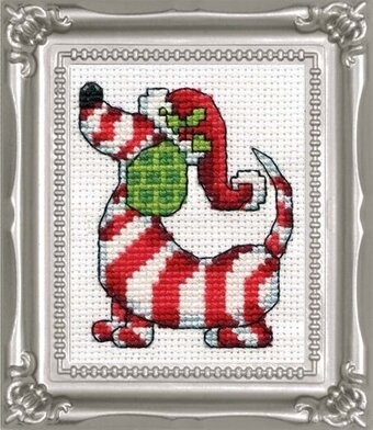 Candy Cane Dog with Frame - Christmas Cross Stitch Kit