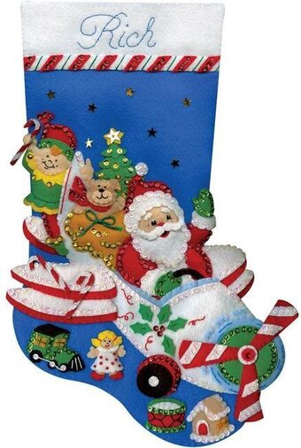 Flying Santa Christmas Stocking - Felt Applique Kit