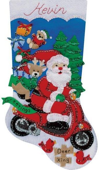 Scooter Santa Christmas Stocking Felt Applique Kit