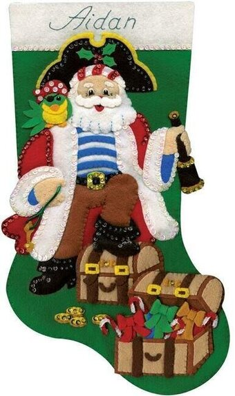 Pirate Santa Christmas Stocking - Felt Applique Kit