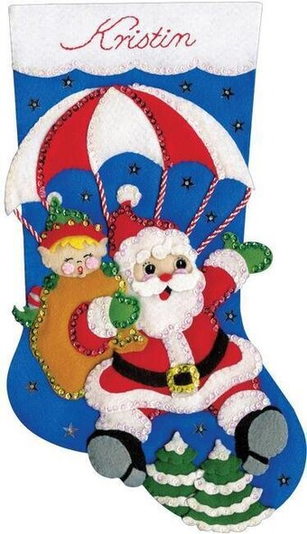 Skydiving Santa Christmas Stocking - Felt Applique Kit