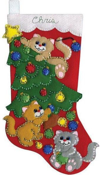 decorating kittens christmas stocking felt applique kit - Christmas Socks Decoration