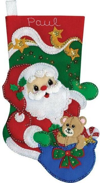 Starlight Santa Claus Christmas Stocking Felt Applique Kit