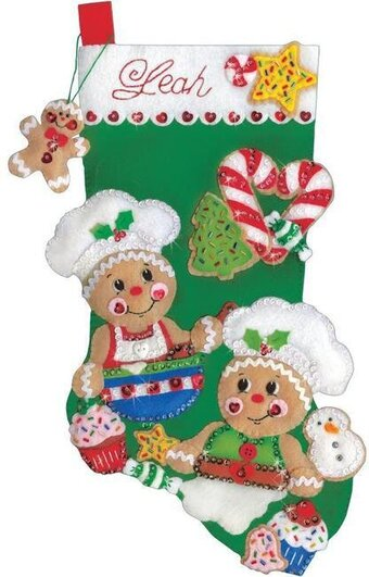 Gingerbread Bakers Christmas Stocking - Felt Applique Kit