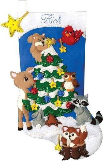 Woodland Friends Christmas Stocking - Felt Applique Kit