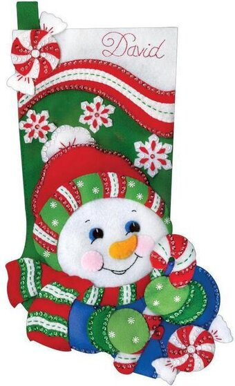 Snowman Christmas Stocking - Felt Applique Kit