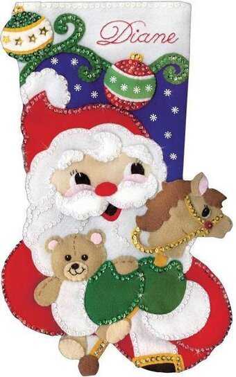 Santa with Toys Christmas Stocking - Felt Applique Kit