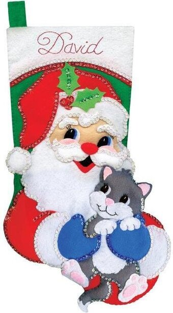 Santa with Kitten Christmas Stocking - Felt Applique Kit