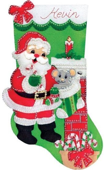 Santa with Mouse Christmas Stocking - Felt Applique Kit